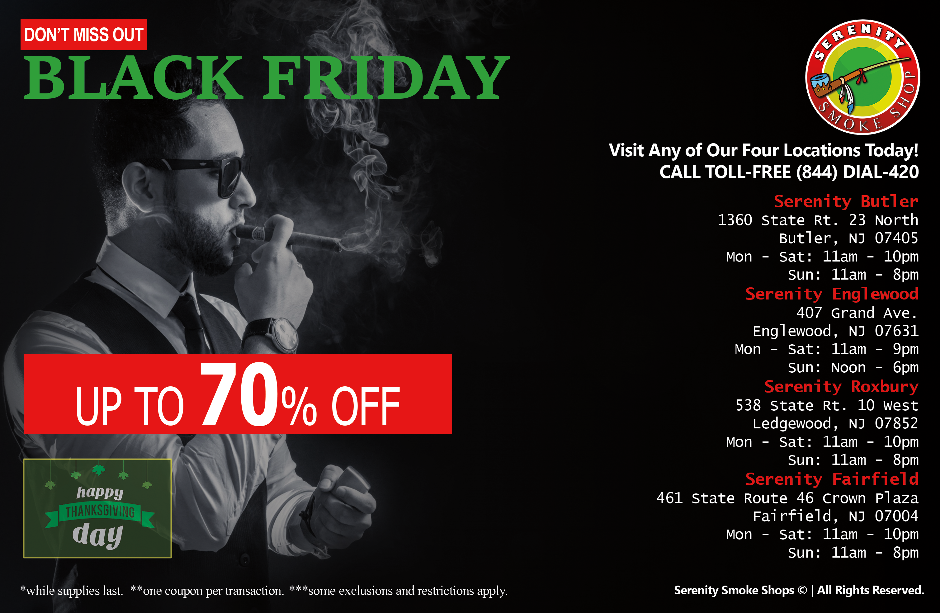 DON'T MISS OUT - BLACK FRIDAY -  UP TO 70% OFF - Serenity Smoke Shop