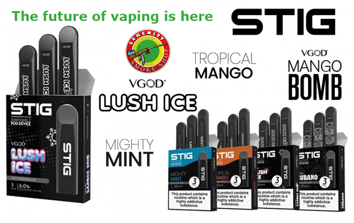 The future of vaping is here STIG lush ice tropical mango mango bomb migty mint serenity smoke shop