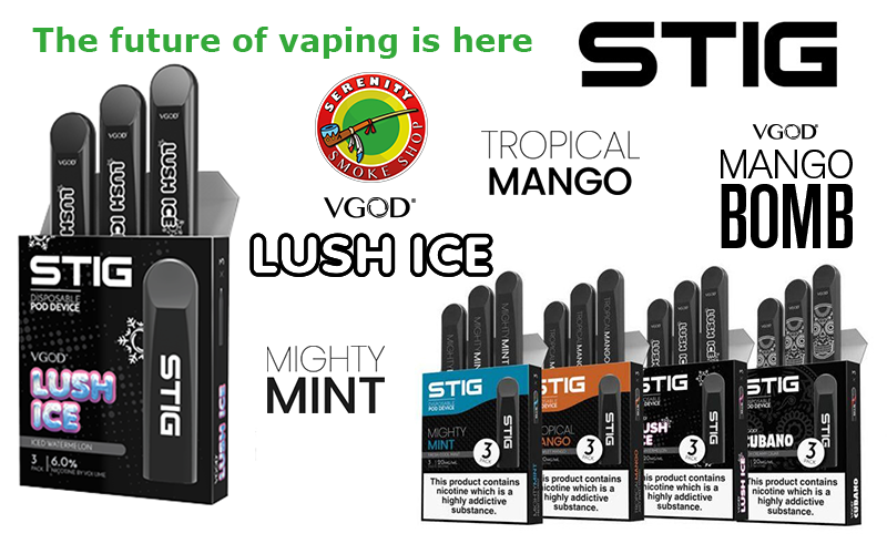 The future of vaping is here ! Fresh tastes to help you ... IN STOCK STIG DISPOSABLE PODS 3 PACK